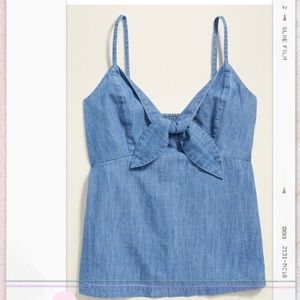 Chambray front tie cami